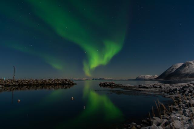 Nordlys over Lovik Småbåthavn Foto Marco Stalder