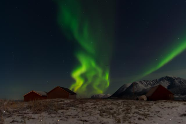 Nordlys over Lovik. Foto: Marco Stalder